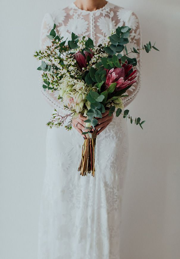 SALLY + JONO // #flowers #bouquet #natives #lace #bride #bridal #rustic #green #foliage #protea #gum #wedding #ceremony #reception
