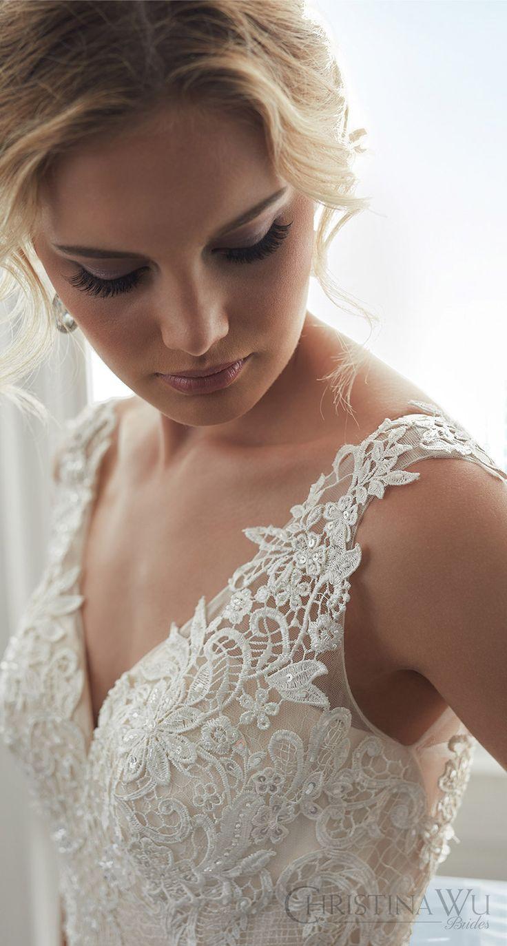 christina wu brides spring 2017 bridal sleeveless illusion straps vneck fully lace embellished trumpet wedding dress (15625) mv train romantic elegant