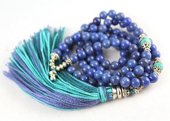 Blue Gem Mala Blue Aventurine Gemstone by goodmedicinegemstone