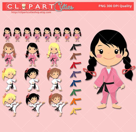 Karate cuties karate girls clipart cute digital graphics for scrapbooking or planner stickers reminders