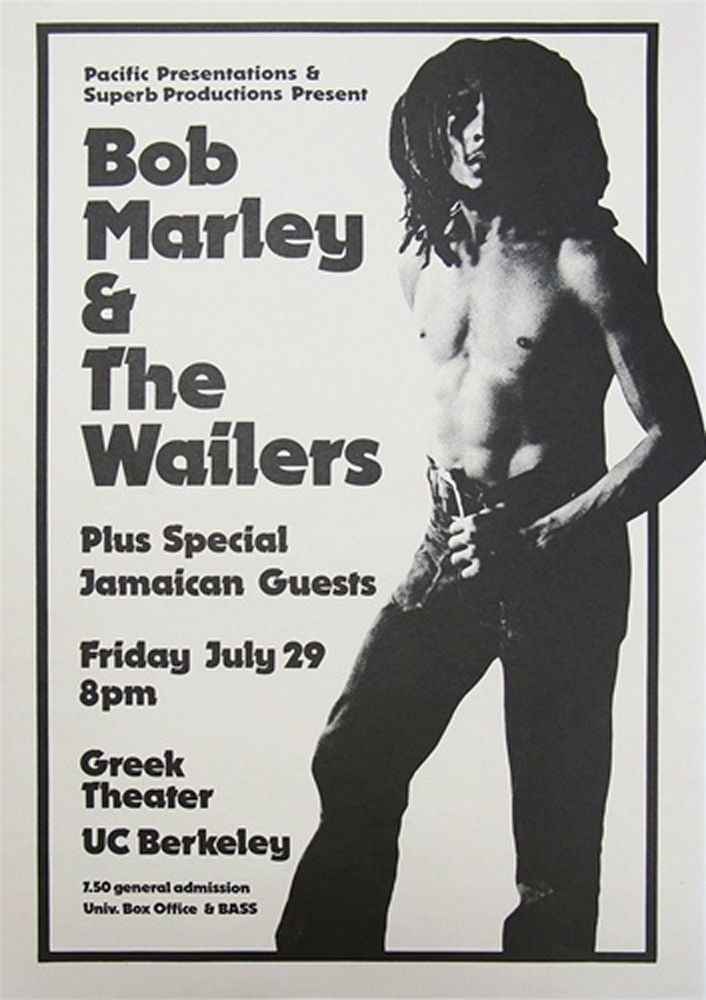 Bob Marley&The Wailers-Greek Theater,UC Berkeley 1977 concert poster repro..