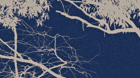 Dark Blue Tree Branch Outline Detail by BlackbirdArtDesign on Etsy $35.00 Stretched Canvas 30 x 42cm