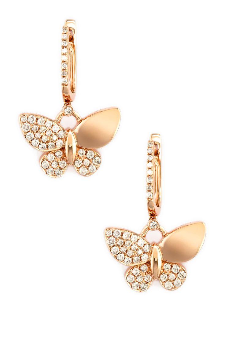Effy 14k Rose Gold Diamond Butterfly Earrings