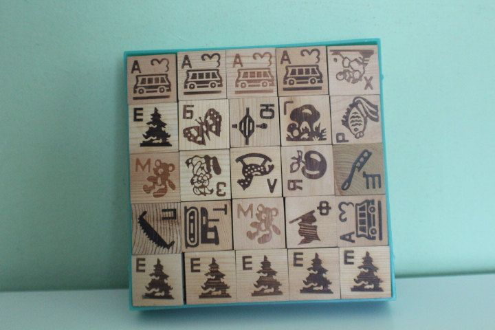 Vintage Soviet Russian Wooden Letter and Picture Blocks, Alphabet Set, Children…