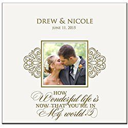 Personalized Wedding Photo Album Custom Engraved How Wonderful Life Is Now That You're in My World Photo Book Holds 200 4x6 Photos Wedding Gift Ideas By Dayspring Milestones