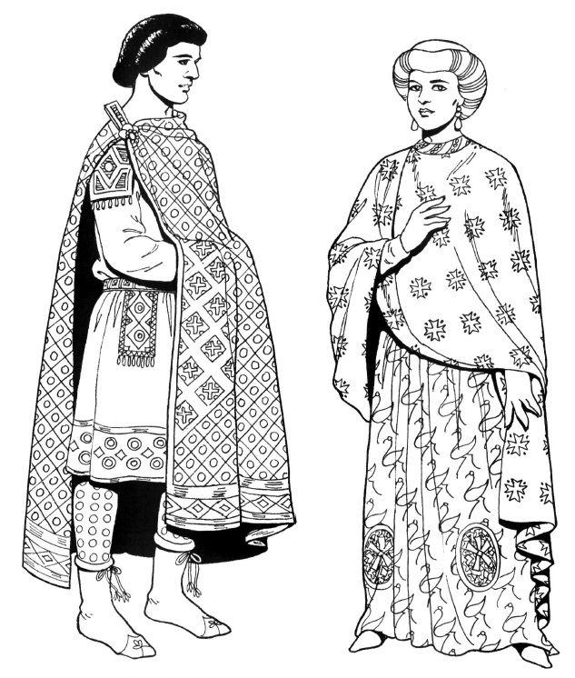 Костюмы византийских придворных из свиты Юстиниана. На мужчине - мантия поверх туники. На женщине - длинная туника, поверх неё шёлковая палла, тюрбан на голове.