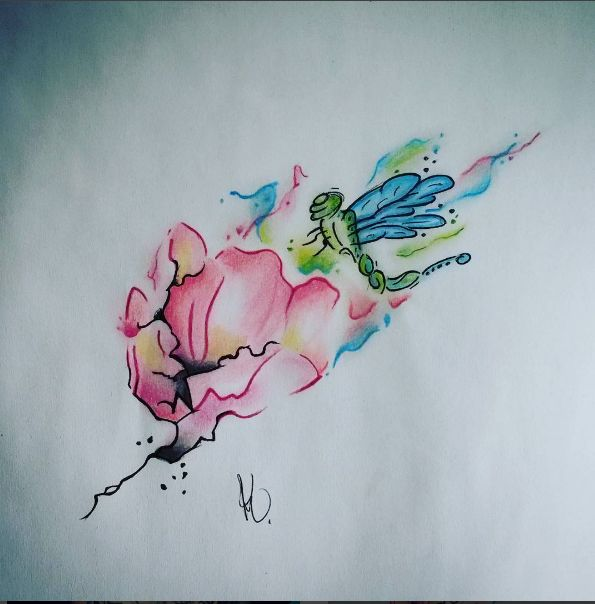 Watercolor Design, perfect for spring. Artist: Kegan Neuper.  Style Ink Tattoos.
