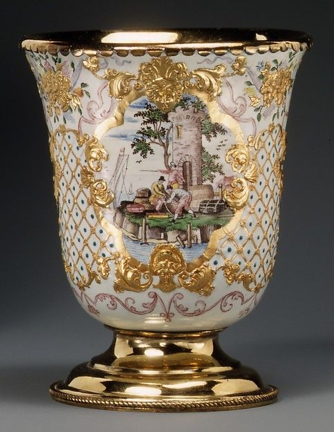 Beaker (one of a pair) Workshop of Charles Fromery (1685–1738) Enameler: Possibly by Christian Friedrich Herold (1700–1779) Date: 1730–40  German, probably Berlin  Painted enamel on copper, partly gilt