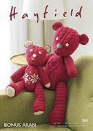 Hayfield 7802 Heart Patchwork Bear & Fair Isle Patchwork Bear. Uses #4(Aran) Weight Yarn.