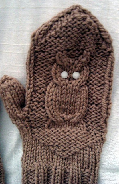 Owl Mittens. #knitting