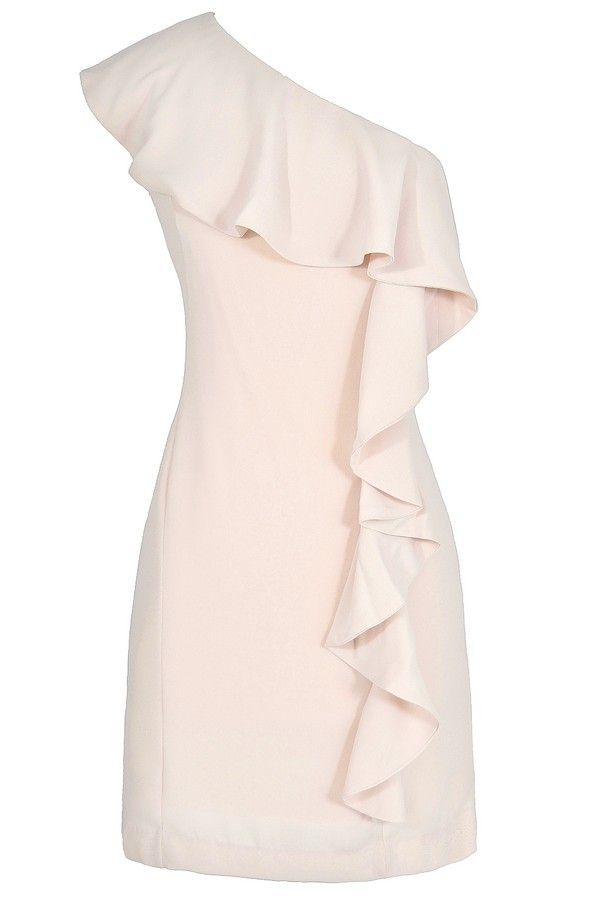 One Shoulder Waterfall Ruffle Dress in Shell  www.lilyboutique.com