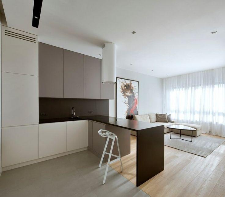 cuisine minimaliste ouverte sur le salon avec plan de travail noir mat