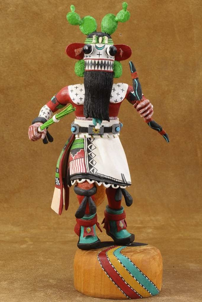 This Hopi Kachina Doll was hand carved by Leonard Taho II, master Native American wood carver. This wonderful Kachina doll, fierce looking & ready to step into action abounds with details from every angle.  $1100 #Alltribes