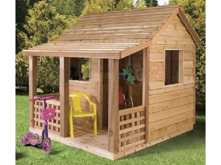 Kids wooden playhouse outdoor space pinterest for Kids wooden play house