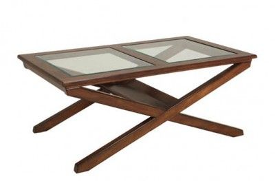Bridgeport sofabord X  bord sofa table brown glass shelf cross feet swedish design hansk www.helsetmobler.no