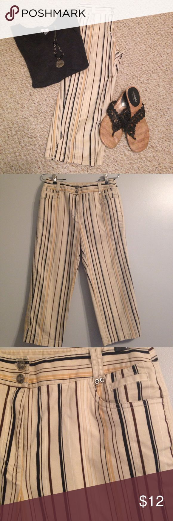"🆕 Listing! Cute Rafaela Striped Cropped Pants So different, a real Statement Piece!  Cotton/spandex for comfort, perfect condition.  Tan, brown, burgundy stripes, 22"" inseam, cuffs measure 8"" across.  Cute detail at bottom vents. Rafaella Pants Ankle & Cropped"