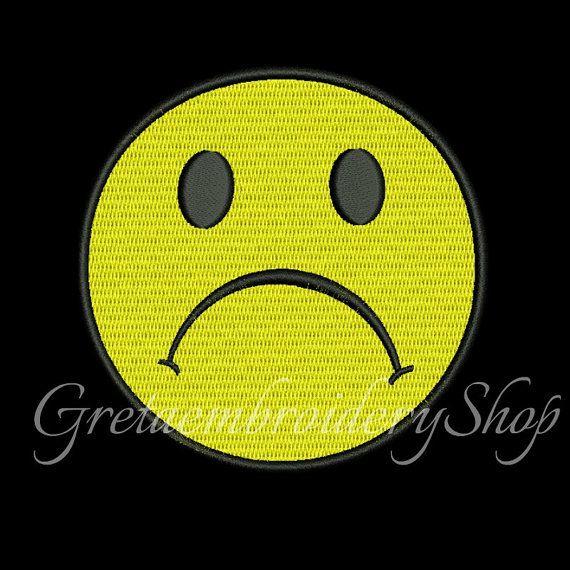 Sad smiley embroidery design,sad emoji applique embroidery design,sad face, emoticon, smiley pattern, embroidery applique,smiley design