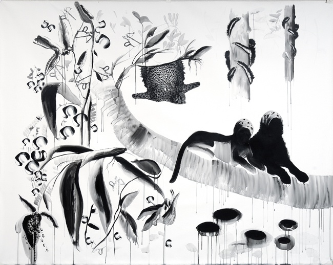2 Beast on the G-String Tree - İnci Eviner, 2008,   Acyrylic on canvas  220 x 250 cm.