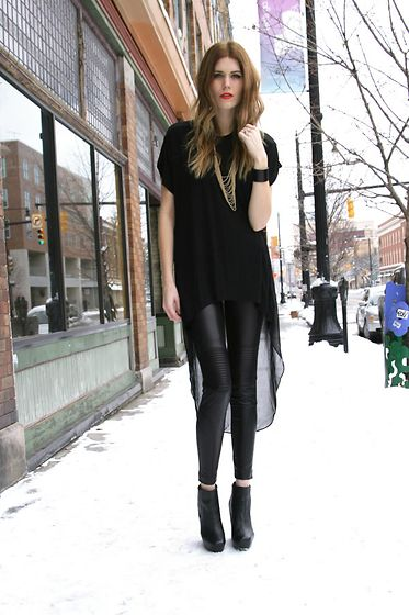 Love Culture Assymetrical Top, Love Culture Leggings: Fashion Galleries, Outfit Ideas, Sheer Tops, Red Lips, Fall Outfit, Leather Legs, Asymmetrical Sheer, Black Wedges, Fashion Police
