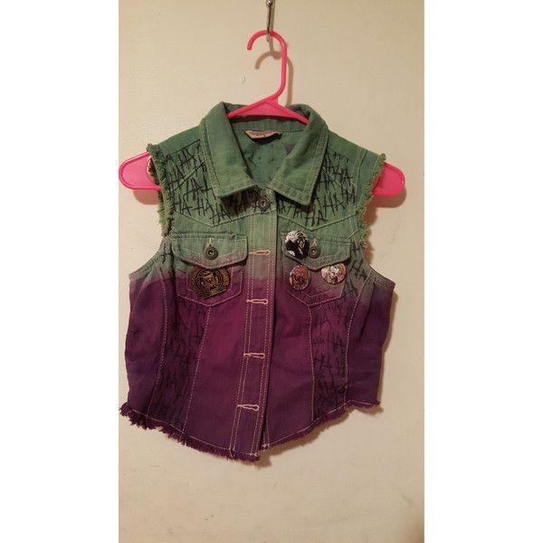 Joker Vest ($70) ❤ liked on Polyvore featuring outerwear, vests, purple waistcoat, vest waistcoat, patch vest, colorful vest and cotton vest