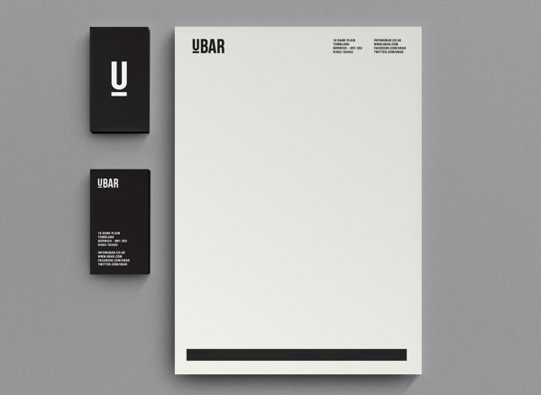 Solid black business cards and a simple black and white letterhead. Love!