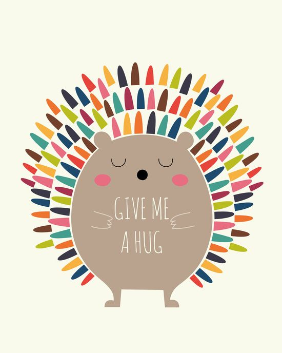 Give Me A Hug Art Print - two or three of these style in mini on the wall framed