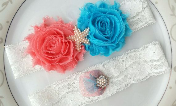 White Garter Set Blue Coral Starfish by TheTossedBouquet on Etsy