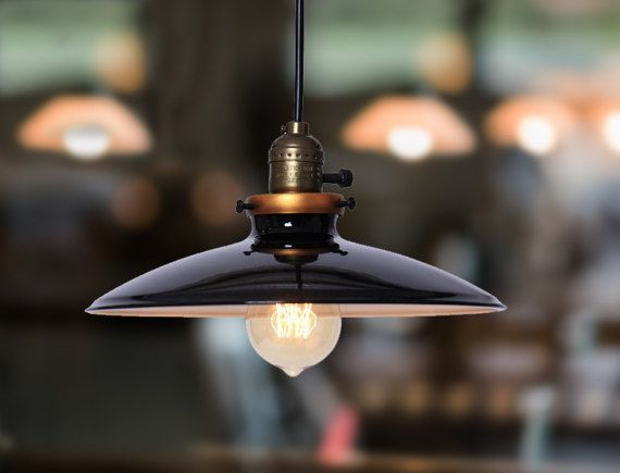 INCLUDES BULB - Vintage Industrial hanging ceiling light antique retro french style black shade. Art deco. unique. Pendant Chandelier