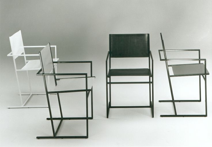 Albert Geertjes chair This beautiful chair, the AG-6 was designed in 1984 by Albert Geertjes. A metal frame with leather upholstery, 4 of the black version available. € 395,- each