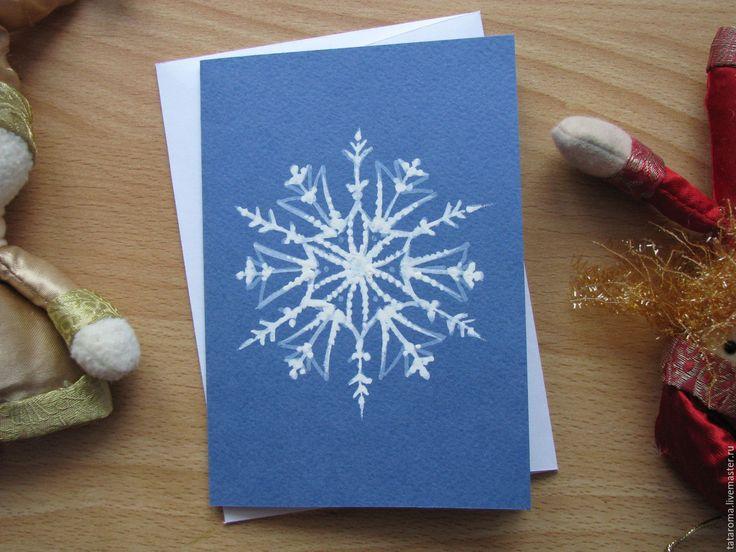 Купить Авторская открытка Снежинка S5 - синий, поздравление, поздравительная открытка, новый год 2016, Праздник