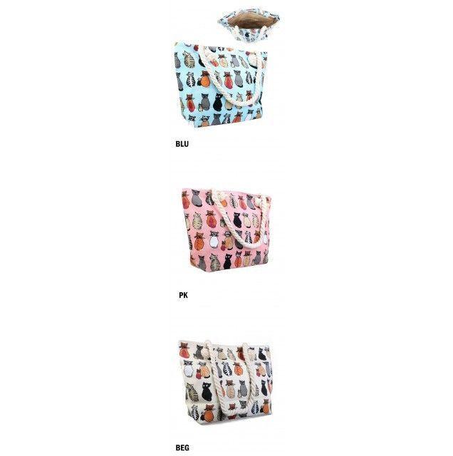 "Summer Beach Tote Canvas Bag Cat Print Zip Closure 17"" X 12"" Rope Handle NWT #NorthSouthFashions #SummerBeachBag #SpringSummer"