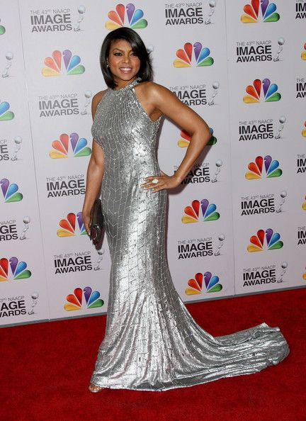Taraji P. Henson Evening Dress - Taraji P. Henson brought the va-va-voom in this liquid silver gown at the NAACP Image Awards.