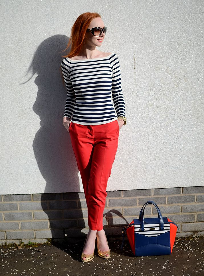 nautical outfit featuring red trousers and stripe top