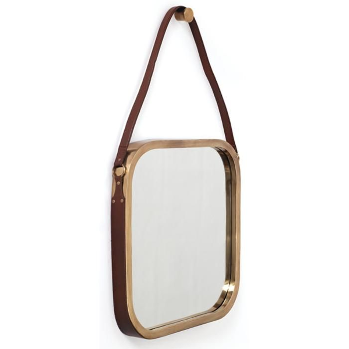 """Materials: Stainless Steel Finish: Antiqued Brass Mirror is 21"""" Square"""