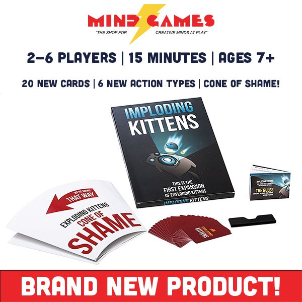 """If you loved Exploding Kittens, then you'll need to grab the Imploding Kittens Expansion Pack! Imploding Kittens Expansion Pack is the first expansion pack from the popular Russian-roulette style card game that introduces 20 brand new cards to the mix, the ability to up the player count to 5 and 6 and a human-sized """"Cone of Shame"""". The first person to forget whose turn comes next will become a human direction indicator and wear the """"Cone of Shame"""" for the rest of the game!"""