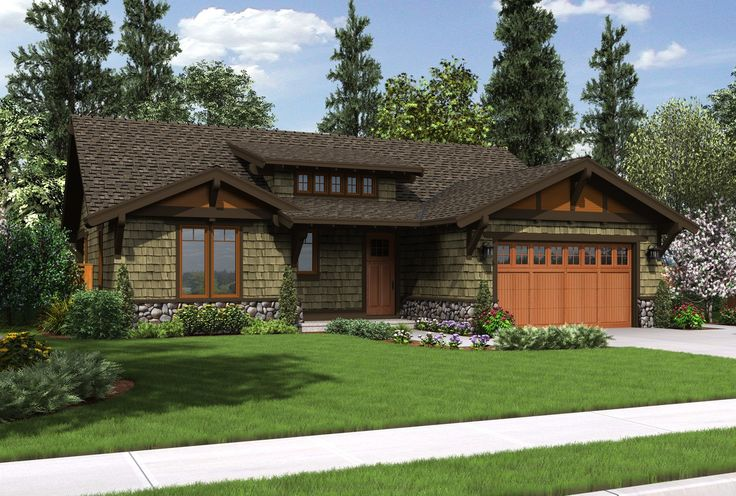 Wonderful compact craftsman ranch plan 1169a the pasadena for Patio home plans ranch