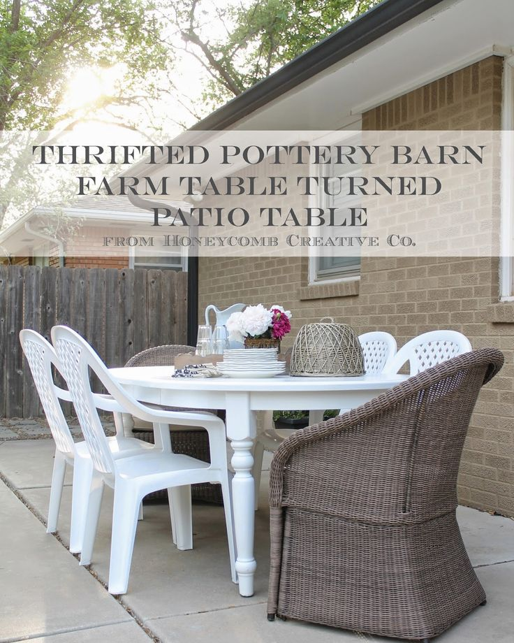 Honeycomb Creative Co.: Thrifted Pottery Bern Table {How to Turn Indoor Furniture into Outdoor Furniture}
