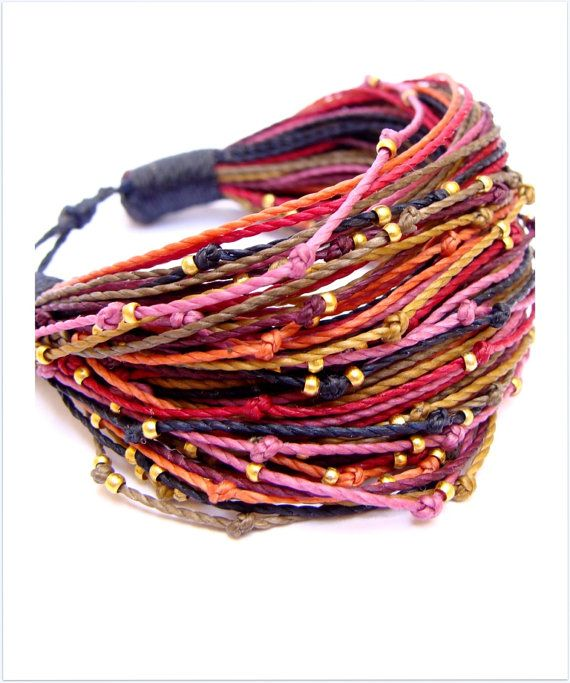 Cord Bracelet Multi Strand Spring Bracelet Multi Thread by Piole