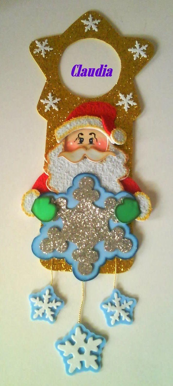 colga puerta navideño de santa