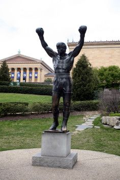 One of Philadelphia's most famous pieces of public art is a bigger-than-life boxer… literally. Originally created for Rocky III, the sculpture is now a real-life monument to a celluloid hero. The fictional Rocky Balboa of Sylvester Stallone's Rocky movies was immortalized in bronze in 1980. After filming for the movie completed, Stallone donated the statue to the City of Philadelphia.