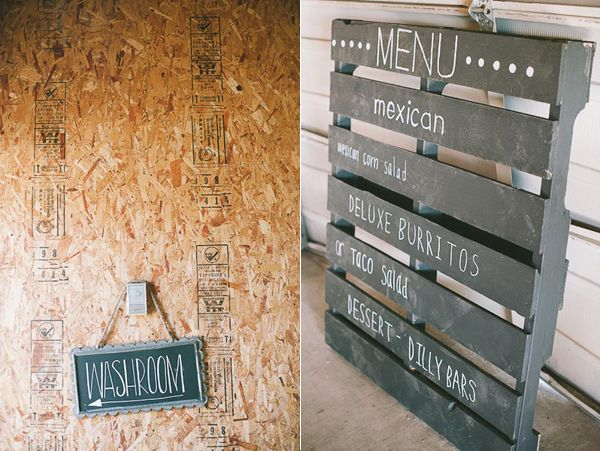 Pallets! You could easily find these for FREE, then use chalkboard paint for the menu! @Chally Aalbers Vick