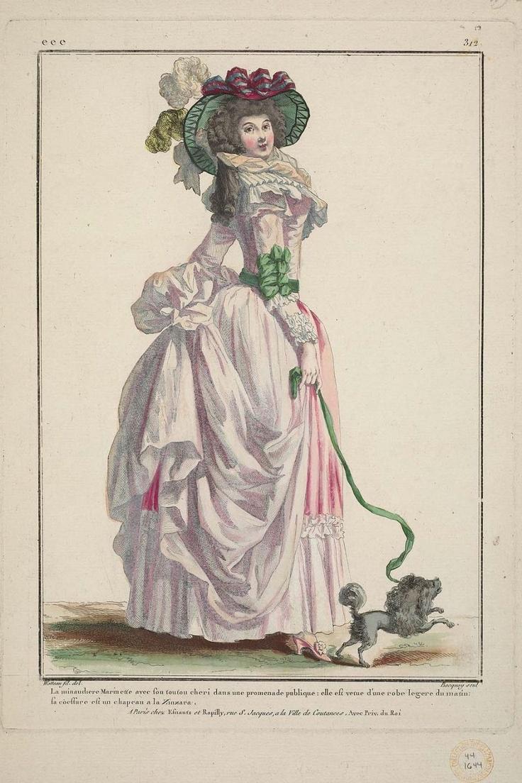 1786 La minaudiere Marinette avec son toutou cheri dans une promenade publique: elle est vetue d'une robe legere du matin: sa coeffure est un chapeau a la Zinzara.