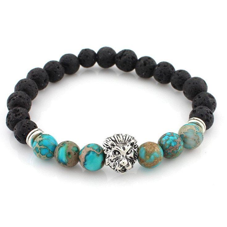 Lion Lava Stone Bead Bracelet