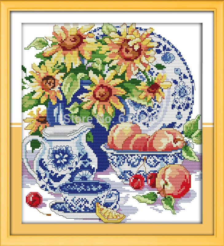 Celadon Sunflower Counted Cross Stitch 11CT 14CT DMC Cross Stitch DIY Cross Stitch Kits for Embroidery Home Decor Needlework