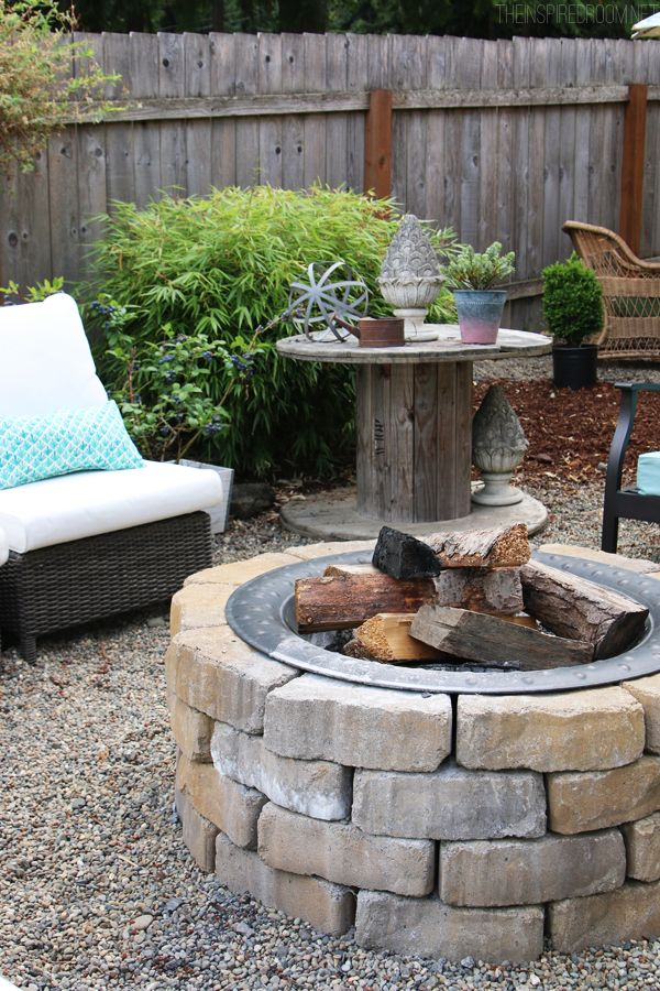 The Inspired Room Pea Gravel Backyard + DIY firepit!