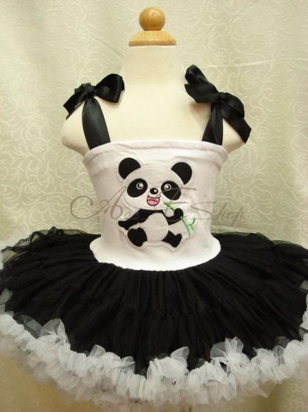 Halloween Panda Girls Kids Party Costume Dance Fancy Tutu