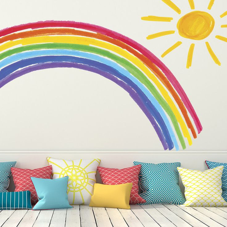 Rainbow and Sunshine removable wall decal. Easy-to-use peel and stick design. A fun DIY home decor solution, ideal for a nursery or kid's room.