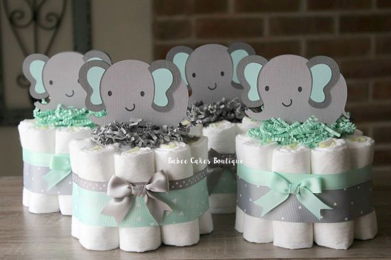 SET OF 4 Mint and Gray Elephant Diaper Cakes, Jungle Baby Shower Centerpieces, Mint Grey Polka Dot, Shower Decorations, Gender Neutral Decor