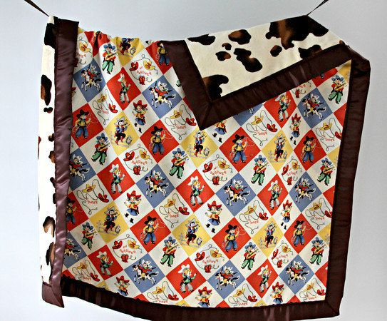 Large Baby/Toddler Blanket Yippee Cowboy/Cowgirl Retro by owesley, $60.00