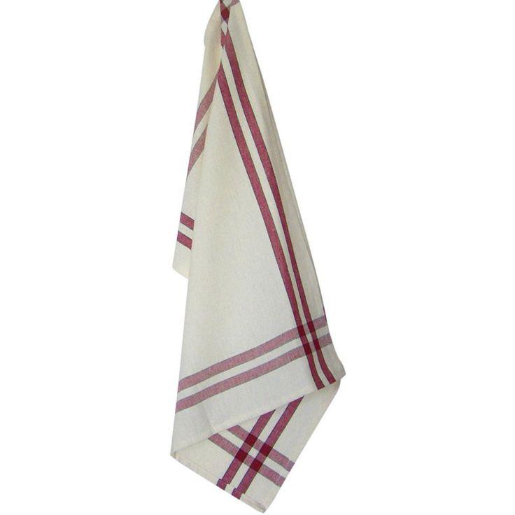 "Cream Tea Towel 20""X28""-Red Stripe"